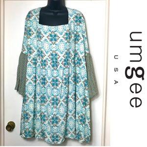 Umgee Mandala Print Bell Sleeve Mini Dress